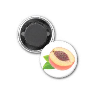 Half of peach 3 cm round magnet