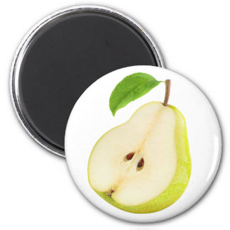 Half of pear 6 cm round magnet