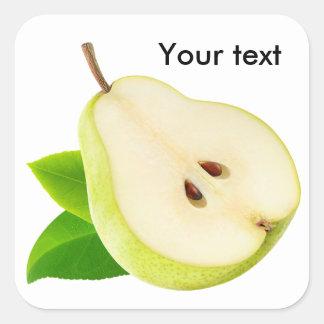 Half of pear square sticker