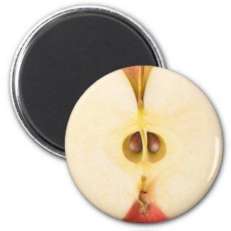 Half of red apple 6 cm round magnet