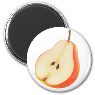 Half of red pear 6 cm round magnet