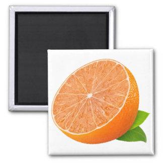 Half of tangerine square magnet