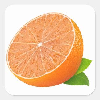 Half of tangerine square sticker