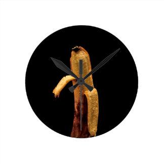 Half Peeled Banana Still Life Round Clock