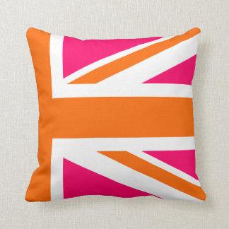 Half Pink and Orange Union Jack Cushion