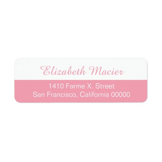 half pink feminine address label with your name