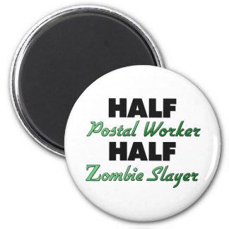 Half Postal Worker Half Zombie Slayer 6 Cm Round Magnet