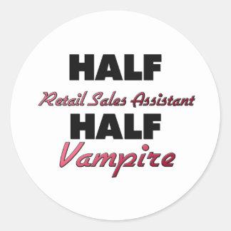 Half Retail Sales Assistant Half Vampire Round Stickers
