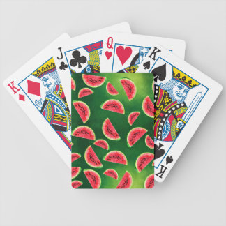 half watermelon illustration in triangle pattern bicycle playing cards