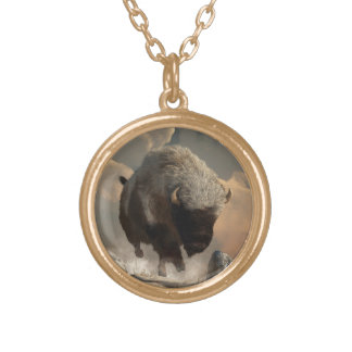 Half White Bison Gold Plated Necklace