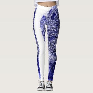 Half white half blue ancient pattern leggings