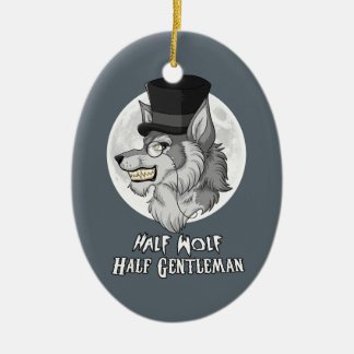 Half Wolf Half Gentleman Ceramic Ornament