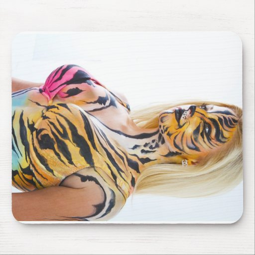 Half woman / Half Tiger Mouse Pads