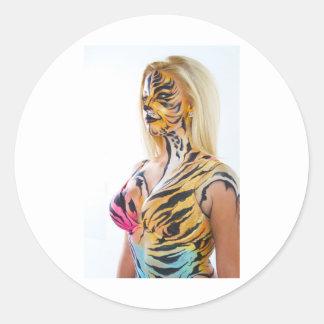 Half woman Half Tiger Round Sticker