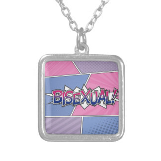 Halftone Bisexual Typography Silver Plated Necklace