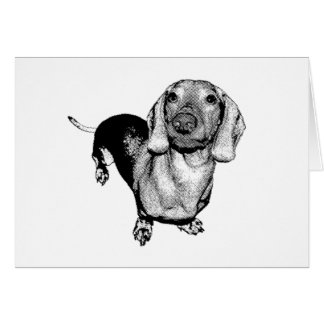 Halftone Black and White Photo Dachsund Doxie Card