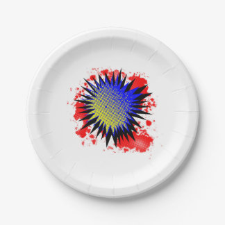 Halftone Comic Exclamation Paper Plate
