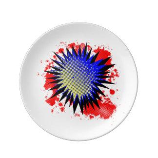 Halftone Comic Exclamation Porcelain Plates