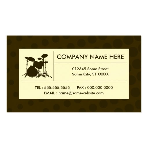 halftone drums business card template