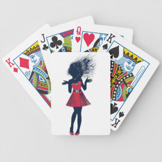 Halftone female silhouette in red poker deck