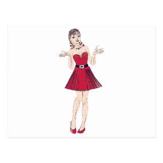 Halftone girl in red postcard