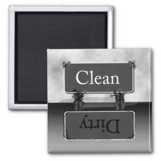 Halftone Gray Dirty Clean Dishwasher Magnet