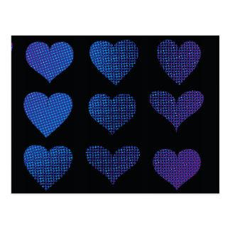 Halftone Hearts - Purple Postcard