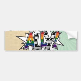 Halftone LGBT Ally Typography Bumper Sticker