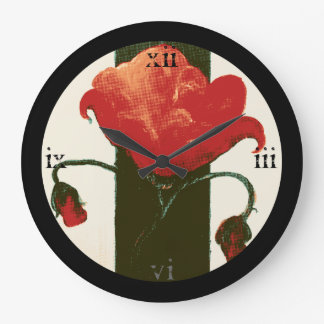 Halftone Red Painted Poppy Large Clock