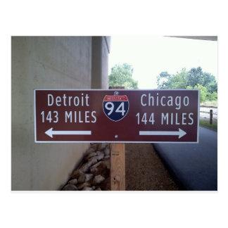 Halfway Point, Detroit Chicago. Postcard