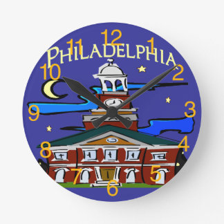Hall in Philly Round Wall Clocks