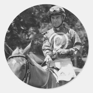 Hall of Fame Jockey Alex Solis Round Sticker
