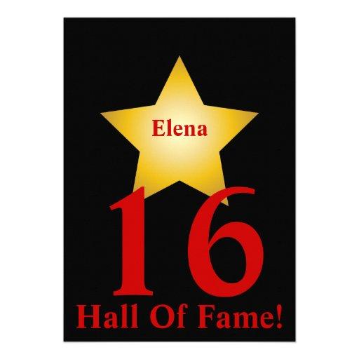 Hall Of Fame Sweet Sixteen-Customize Custom Invites