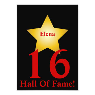 Hall Of Fame Sweet Sixteen-Customize 13 Cm X 18 Cm Invitation Card
