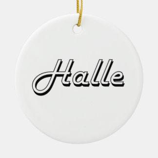 Halle Classic Retro Name Design Round Ceramic Ornament