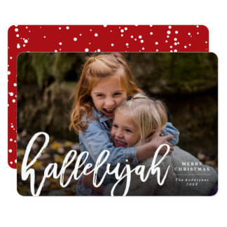 Hallelujah Brush Religious Christmas Photo Card