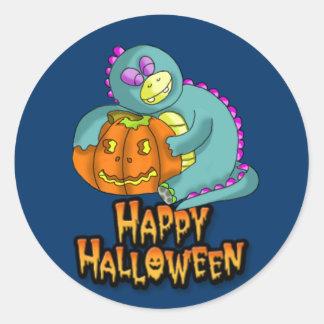 halloween 2, dino and pumkin round sticker