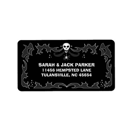 Halloween Address Label - Black & White Skull