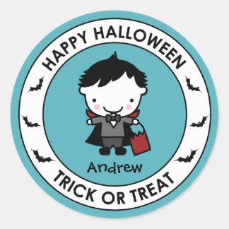 Halloween Aqua Treat Bag Sticker Label