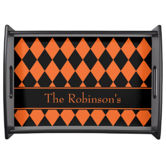 Halloween Argyle ~ Large Personalized Serving Tray