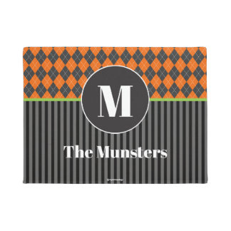 Halloween Argyle Monogram Doormat