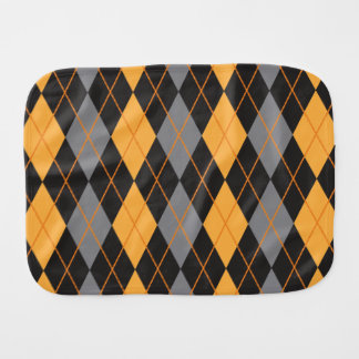 Halloween Argyle Orange and Black Pattern Burp Cloth