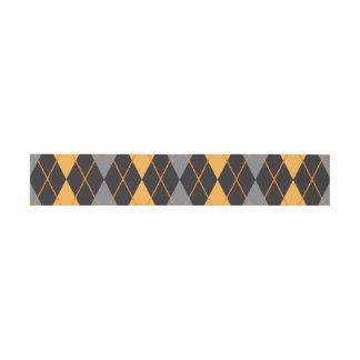 Halloween Argyle Orange and Black Pattern Invitation Belly Band