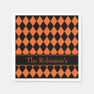 Halloween Argyle ~ Personalized Disposable Serviettes