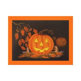 Halloween Art Print,chipmunk,autumn,Jack-O-Lantern Canvas Print