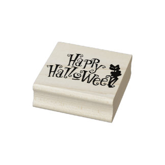Halloween Art Stamps/Happy Halloween Black Cat Rubber Stamp