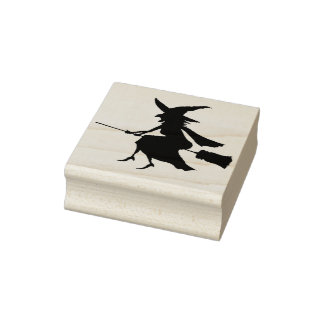 Halloween Art Stamps/Witch on Broom Rubber Stamp