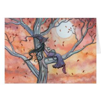 Halloween Autumn Witch Cat Card