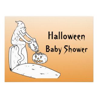 Halloween Baby Shower Ghost Invitations - Orange