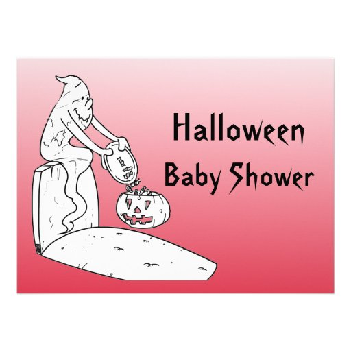 Halloween Baby Shower Ghost Invitations - Red
